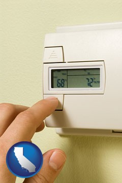 a heating system thermostat - with California icon