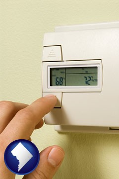 a heating system thermostat - with Washington, DC icon