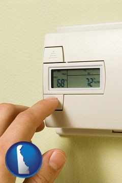 a heating system thermostat - with Delaware icon