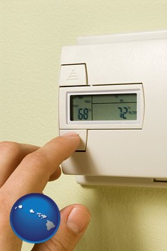 a heating system thermostat - with Hawaii icon
