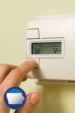 a heating system thermostat - with Iowa icon