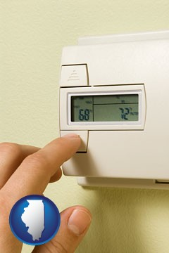 a heating system thermostat - with Illinois icon