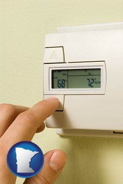a heating system thermostat - with Minnesota icon