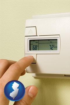 a heating system thermostat - with New Jersey icon