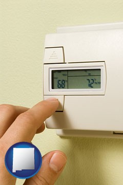 a heating system thermostat - with New Mexico icon