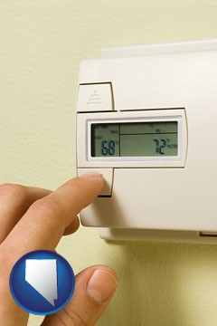 a heating system thermostat - with Nevada icon