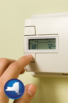 a heating system thermostat - with New York icon