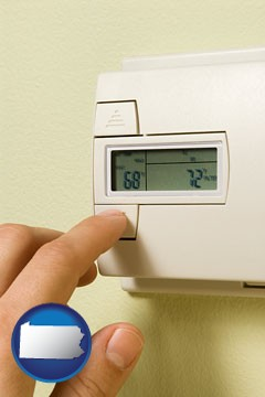 a heating system thermostat - with Pennsylvania icon
