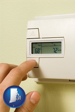 a heating system thermostat - with Rhode Island icon