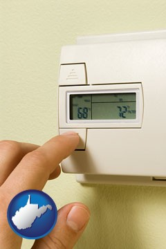 a heating system thermostat - with West Virginia icon
