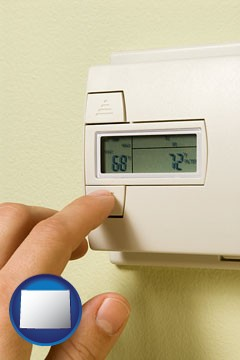 a heating system thermostat - with Wyoming icon