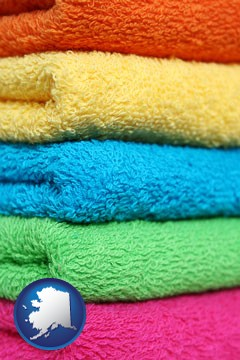 colorful bath towels - with Alaska icon