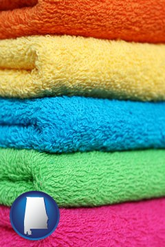 colorful bath towels - with Alabama icon
