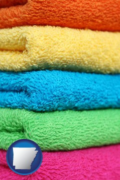 colorful bath towels - with Arkansas icon