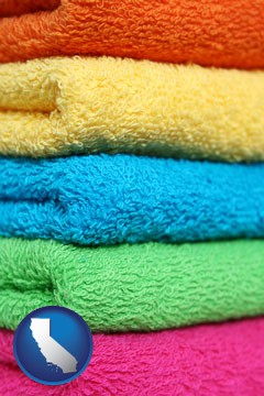 colorful bath towels - with California icon