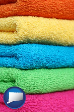 colorful bath towels - with Connecticut icon