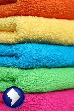 colorful bath towels - with Washington, DC icon