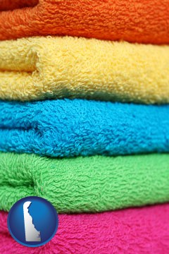 colorful bath towels - with Delaware icon