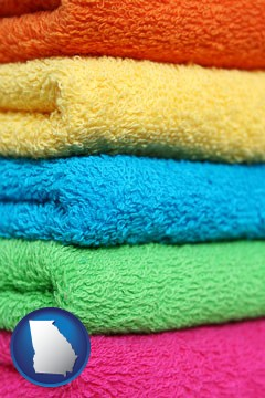 colorful bath towels - with Georgia icon