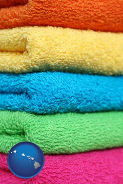 colorful bath towels - with Hawaii icon