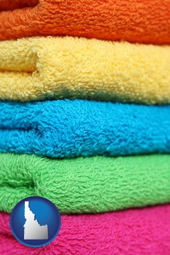 colorful bath towels - with Idaho icon