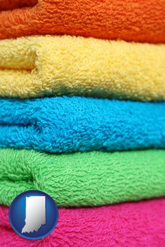 colorful bath towels - with Indiana icon