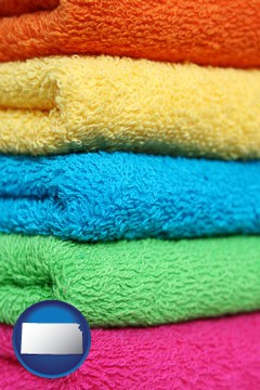 colorful bath towels - with Kansas icon