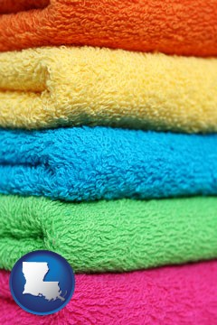 colorful bath towels - with Louisiana icon