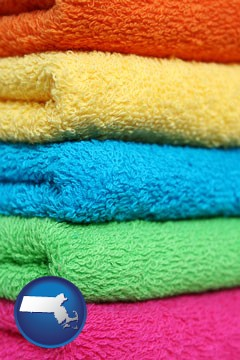 colorful bath towels - with Massachusetts icon