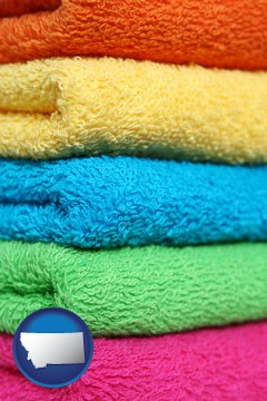 colorful bath towels - with Montana icon