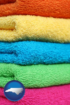 colorful bath towels - with North Carolina icon