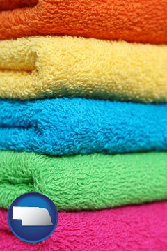 colorful bath towels - with Nebraska icon