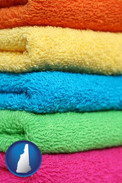 colorful bath towels - with New Hampshire icon