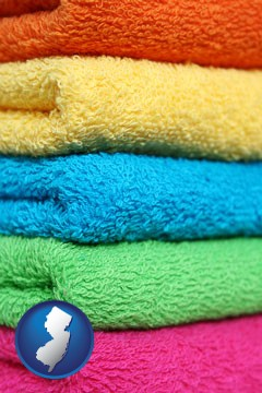 colorful bath towels - with New Jersey icon