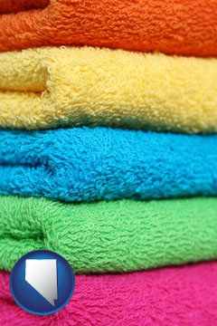 colorful bath towels - with Nevada icon