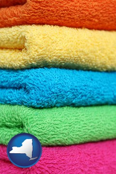 colorful bath towels - with New York icon