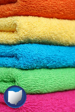 colorful bath towels - with Ohio icon