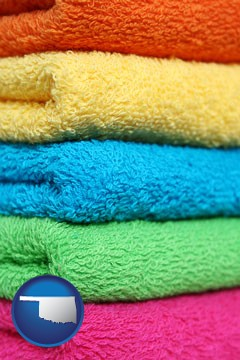 colorful bath towels - with Oklahoma icon