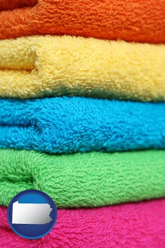 colorful bath towels - with Pennsylvania icon