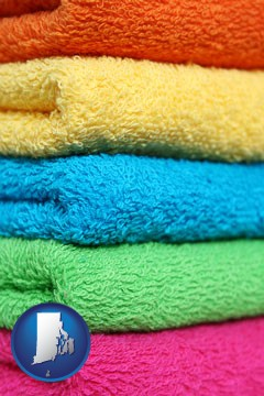 colorful bath towels - with Rhode Island icon