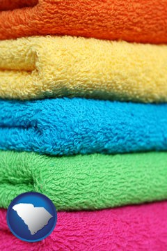 colorful bath towels - with South Carolina icon