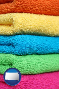 colorful bath towels - with South Dakota icon