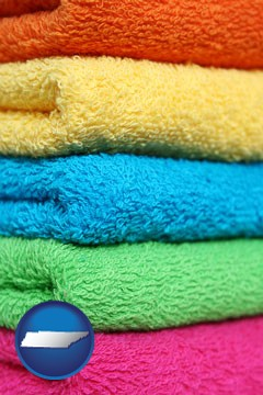 colorful bath towels - with Tennessee icon