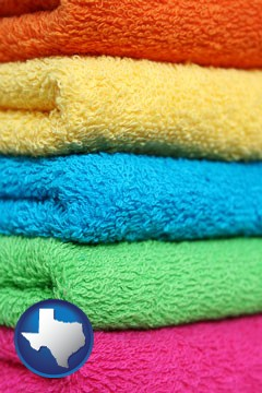 colorful bath towels - with Texas icon