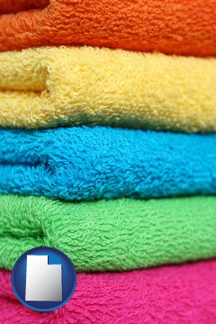 colorful bath towels - with Utah icon