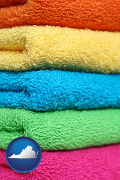 colorful bath towels - with Virginia icon