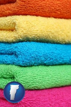 colorful bath towels - with Vermont icon