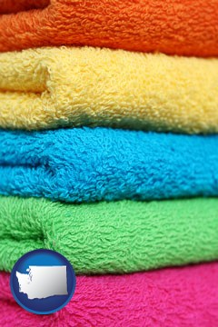 colorful bath towels - with Washington icon