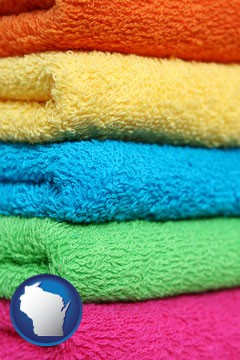 colorful bath towels - with Wisconsin icon