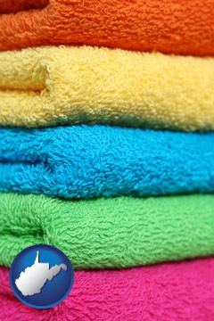 colorful bath towels - with West Virginia icon